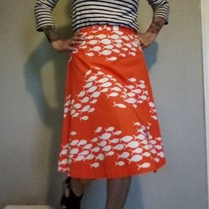 J. Crew Orange Cotton School of Fish Skirt